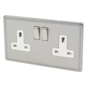 Varilight 2-Gang 13A DP Switched Socket Beaded Steel