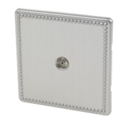 Varilight 1-Gang Coaxial TV Socket Beaded Steel