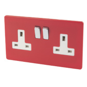 Varilight 2-Gang 13A DP Switched Socket Claret Red