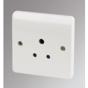 MK 5A 1-Gang Round Pin Unswitched Plug Socket White