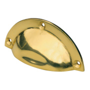 Shell Drawer Pulls 90mm Polished Brass