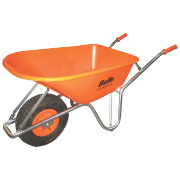 Belle Group Large Wheel Belle Warrior HDPE Wheelbarrow Silver/Orange 100Ltr