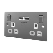 LAP 13A 2-Gang Switched Socket & USB Charger Port Brushed Steel Flat Plate