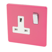 Varilight 1-Gang 13A DP Switched Socket Cerise Pink