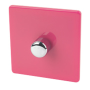 Varilight 1-Gang 2-Way 400W Push Dimmer Cerise Pink