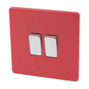Varilight 2-Gang 2-Way 10AX Switch Claret Red