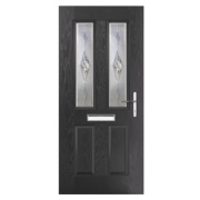 Unbranded Carnoustie 2-Light Composite Front Door Black GRP 880 x 2055mm