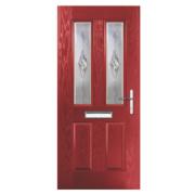 Unbranded Carnoustie 2-Light Composite Front Door Red GRP 880 x 2055mm