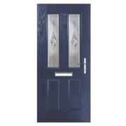 Unbranded Carnoustie 2-Light Composite Front Door Blue GRP 880 x 2055mm