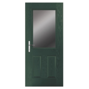 Unbranded Lytham Composite Front Door Clear Glass Green GRP 840 x 2055mm