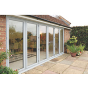 Unbranded Bi-Fold Double-Glazed Patio Door White Aluminium 4755 x 2094mm