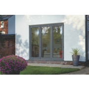 Bi-Fold Double-Glazed Patio Door Grey Aluminium 2394 x 2094mm