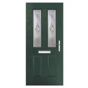 Unbranded Carnoustie 2-Light Composite Front Door Green GRP 920 x 2055mm