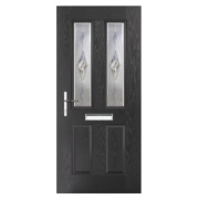 Carnoustie 2-Light Composite Front Door Black GRP 880 x 2055mm