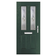 Unbranded Carnoustie 2-Light Composite Front Door Green GRP 880 x 2055mm