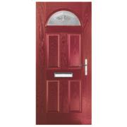 Turnberry Single Light Composite Front Door Red GRP 880 x 2055mm