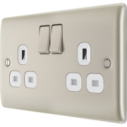 British General 13A 2-Gang DP Switched Plug Socket Pearl Nickel