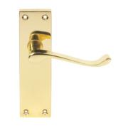 Victorian Scroll Long Backplate Door Handle Latch Pair Brass Effect