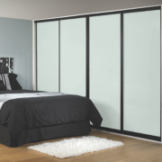 4 Door Sliding Wardrobe Doors Black Frame White Panel 764 x 2330mm