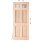 Jeld-Wen Brock 2-Light Double-Glazed Exterior Door Unfinished Meranti Veneer 813 x 2032mm