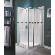 Aqualux Square Pivot Door Shower Enclosure Silver Effect 760mm
