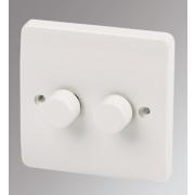 MK Logic Plus 2-Gang 2-Way Dimmer Switch Mains/Low Voltage 300W White