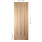 Jeld-Wen Aston 3-Panel Interior Door Oak Veneer 686 x 1981mm