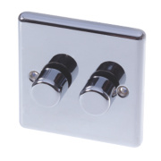 LAP 2-Gang 2-Way Push Dimmer Switch 400W/250VA Polished Chrome