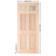 Jeld-Wen Brock 2-Light Glazed Exterior Door Meranti Veneer 838 x 1981mm