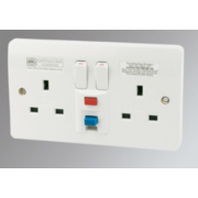 MK 13A 2-Gang RCD Active Switched Plug Socket White
