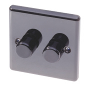 LAP 2-Gang 2-Way Push Dimmer 250W/250VA Black Nickel