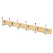 Ball-End Hooks on Straight Pine Board Polished Chrome 680 x 140mm
