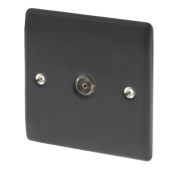 British General 1-Gang Coaxial TV Socket Matt Black