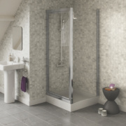 Square Pivot Door Shower Enclosure Chrome-Effect 900mm