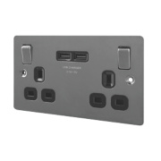 LAP 13A 2-Gang Switched Socket & USB Charger Port Black Nickel Flat Plate