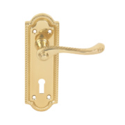 Georgian Lever on Backplate Latch Pair Polished Brass