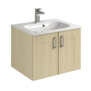Bathroom Double Base Vanity Unit & Basin Oak Shaker 600 x 495 x 440mm