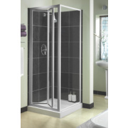Aqualux Shower Enclosure Bi-Fold Door Square Silver Effect 760 x 1850mm