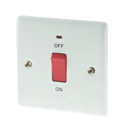 British General 45A DP Cooker Switch with Neon Polished White