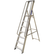 Lyte Heavy Duty Platform Ladder & Safety Handrails Aluminium 7 Treads 2.13m