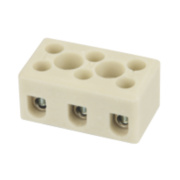 Hylec Triple Pole 24A Steatite Ceramic Terminal Blocks Pack of 5