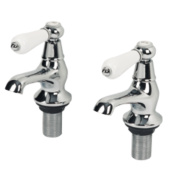 Swirl Period Lever Bath Taps Pair Chrome