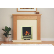 Be Modern Avondale Traditional Electric Fire & Surround Brass & Natural Oak