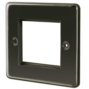 LAP 1-Gang Front Plate with Double Module Aperture + Earth Black Nickel