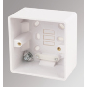 LAP 1-Gang Surface Pattress Box w/ Cable Clamp & Earth Terminal White 46mm