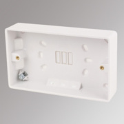 LAP 2-Gang Surface Pattress Box with Earth Terminal White 28mm
