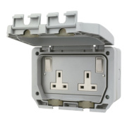 LAP 13A 2-Gang DP Switched Plug Socket with Outboard Rocker
