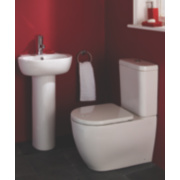 St Ives 1 Tap Hole Cloakroom Suite Full Ped. Basin & 6Ltr CC Toilet White