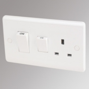 LAP 2-Gang 45A Cooker Switch with 13A Switched Plug Socket White