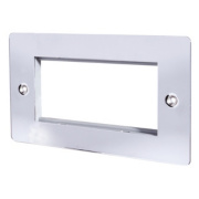 LAP 2-Gang Front Plate with 4 Module Aperture + Earth Polished Chrome